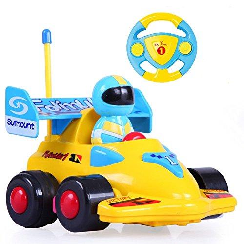 (Team R/C Cartoon R/C Formula Race Car Radio Control Toy for Toddlers (Yellow))
