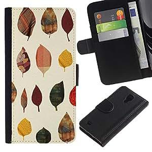 Paccase / Billetera de Cuero Caso del tirón Titular de la tarjeta Carcasa Funda para - Leaves Poly Art Minimalist - Samsung Galaxy S4 IV I9500