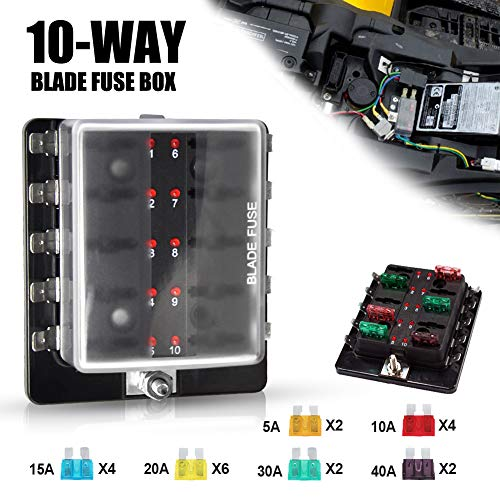 (Liteway 10-Way Blade Fuse Box 12-32V LED Illuminated Automotive Fuse Block for Car Boat Marine Trike with LED Warning Light Kit, 2 Years Warranty)