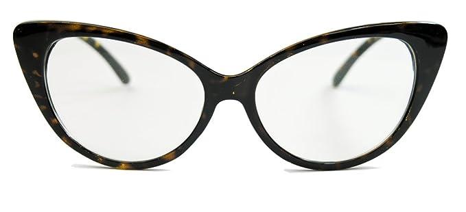 50er 60er Jahre Damen Retro Brillengestell Cat Eye Nerdbrille Klarglas CN61 (Braun) YplYiFyaID
