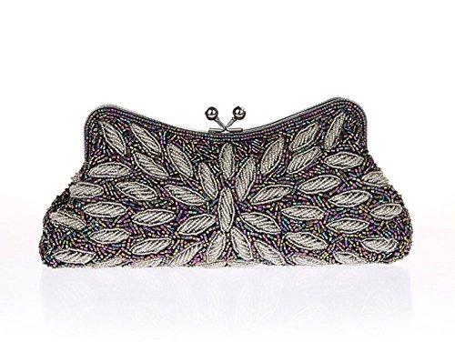 Aronvivi - Cartera de mano para mujer grey silvery talla única purple silvery
