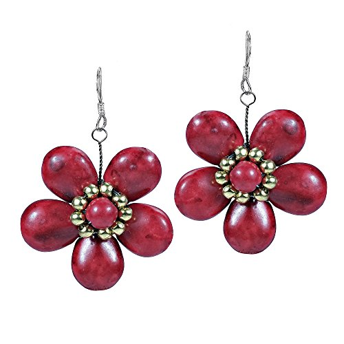 Cute Plain Reconstructed Red Coral-Fashion Brass Beads Flower .925 Sterling Silver Dangle Earrings