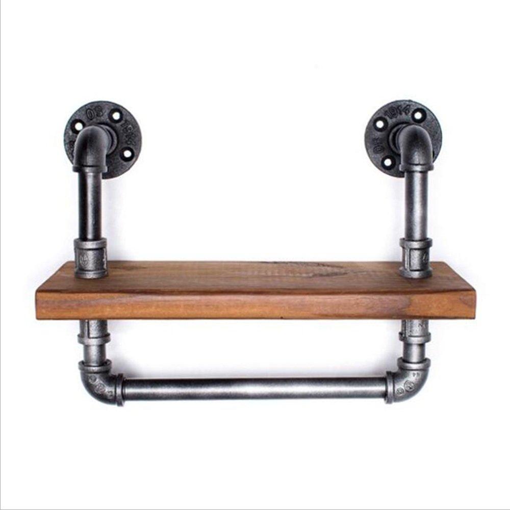 JJJJD アイアン壁掛け木製ラックヴィンテージ工業用水パイプ本棚、40 * 15センチメートル B07SV5MG9W