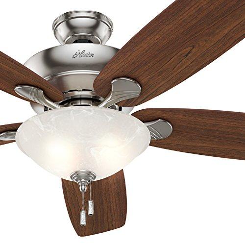 Hunter Fan 60in Ceiling Fan in Brushed Nickel with Swirled Marble Glass Light Kit, 5 Blade Renewed
