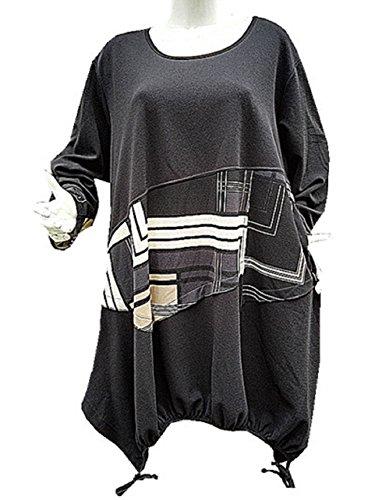 Fashionfolie - Femme Robe Grande taille 50/52/54/56/58/60 tunique AMPLE mariage chic nouveauté Taupe R1033