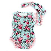 puseky Infant Baby Girl Kids Flower Romper Jumpsuit Sunsuit+Headband Clothes Set (6-12 Months, Light Blue)
