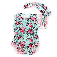 Puseky Infant Baby Girl Kids Flower Romper Jumpsuit Sunsuit+Headband Clothes ...