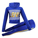 GUBA® New Girls Love Foil Stripe Hooded Crop Top & Legging Set Kid's Tracksuit Lounge Wear 7-13 Years (Royal Blue, 13 Years)