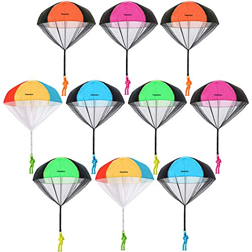 Trounistro 10 Pieces Parachute Toy Tangle Free Throwing Toy Parachute Figures Hand Throw Soldiers Parachute Play Children's Flying Inflatable Toys