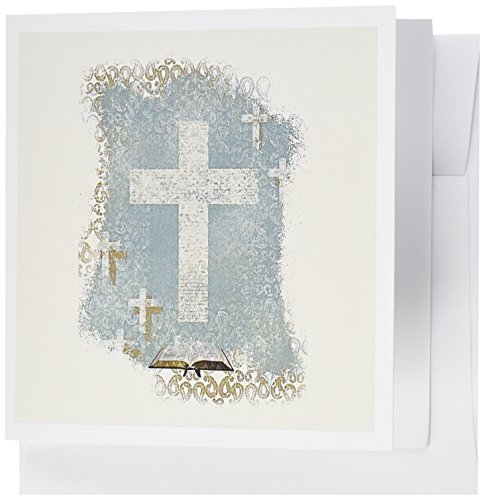 - 3dRose Crosses with Open Bible, Pastel Green, Sepia, and Cream - Greeting Cards, 6 x 6 inches, set of 12 (gc_180927_2)