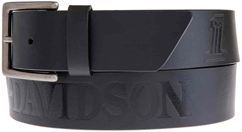 HARLEY-DAVIDSON BROWN BLACK BUCKLE 34 36 38 40 BIKER GIFT MENS LEATHER BELT