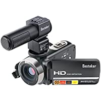 Camera Camcorders, Besteker FHD 1080P IR 24MP 16X Digital Zoom with External Microphone and Touch Screen Video  Camera Camcorder