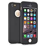 KAMII iPhone 5S Case, iPhone SE case, [Ultra Thin] Hybrid Pc Board with Metallic Luster [Full Body] Coverage Protection 360 Degree All-round Protection Hard Slim Case for iPhone 5/5S/SE (Black)
