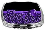 Rikki Knight Letter-M Monogram Damask Bow Design Compact Mirror, Purple, 2 Ounce