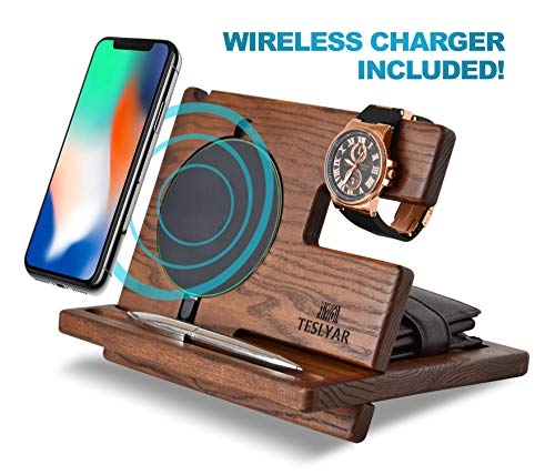 Wood Phone Docking Station Ash Key Holder Wallet Stand Watch Organizer Men Gift Husband Wireless Charging Pad Slim Birthday Nightstand Purse Tablet Compatible with All Qi Devices (Black) from Teslyar