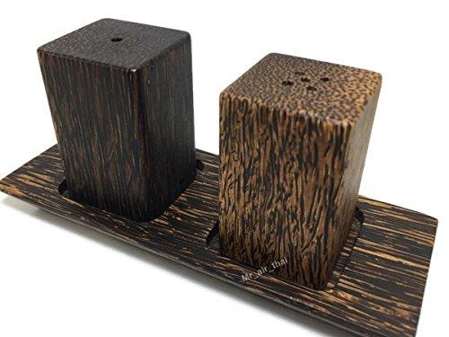 Salt Pepper Shaker Wooden Box Salt And Pepper Storage Kitchenware Handmade Holder Rectangular (plam wood)