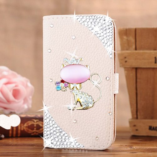 iPhone 7 Wallet Case,Berry Accessory(TM) Luxury Handmade 3D Bling Crystal Rhinestone White Leather Wallet Purse Flip Card Pouch Stand Cover Case for i…