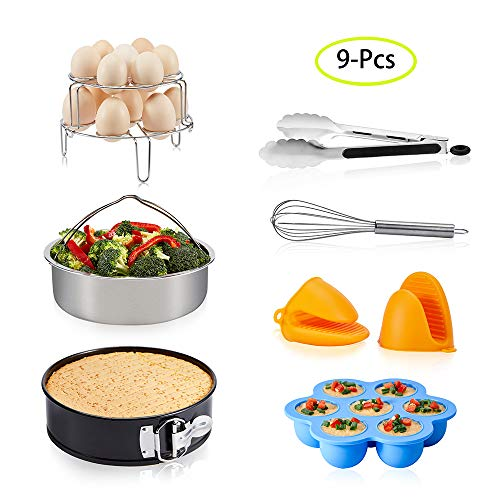 9-Piece Instant Pot Accessories for 5 6 8 Qt, LinkingHome Pressure Cooker Accessories with Steamer Basket, Non-stick Springform Pan, Silicone Egg Bites Molds, Stackable Egg Steamer Rack, Egg Beater