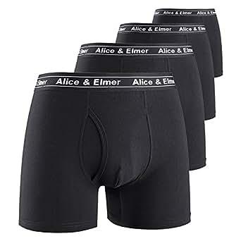 Alice & Elmer Men's Underwear 4 Pack Soft Stretch Cotton Boxer Briefs Shorts Tagless Open Fly Black S