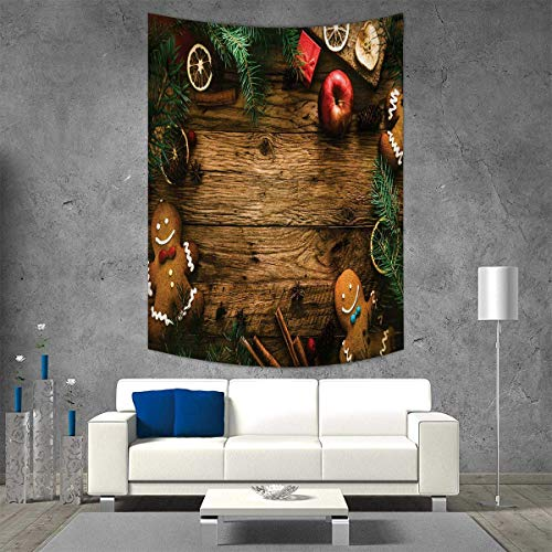 - smallbeefly Christmas Tapestry Wall Tapestry Gingerbread Man Gift Box Coniferous Pine Cinnamon Dessert on Rustic Wood Theme Art Wall Decor 57W x 74L INCH Brown Green