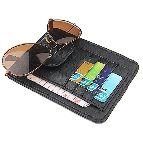 Car Sun Visor Sunshade Interior PU Leather Storage Case Sunglasses Holder Organizer Sleeve Wallet Clips Mount (Black - Sunglasses Sunshades