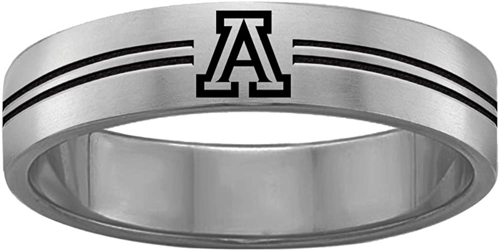 Double Line Style College Jewelry University of Arizona Wildcats Rings Stainless Steel 8MM Wide Ring Band