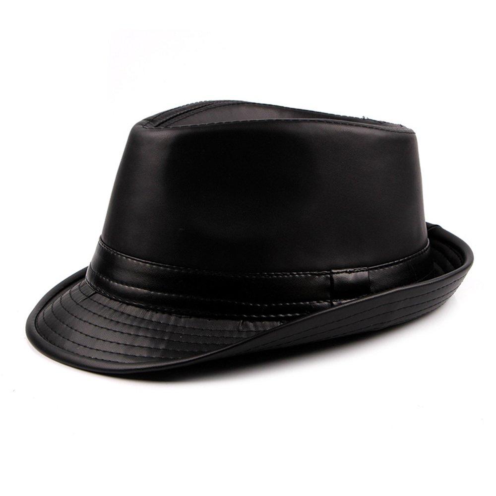 Pelle PU Cappello Fedora Uomo Ragazzi Inverno Berretto Trilby Homburg Gentiluomo - Multicolore Nero DH1585A
