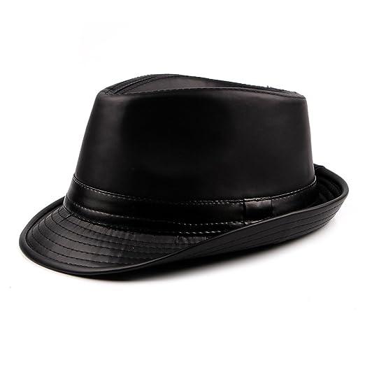 675a9f6f40294 PU Leather Fedora Hat Mens Boys Winter Trilby Hat Jazz Gentlemens Choice