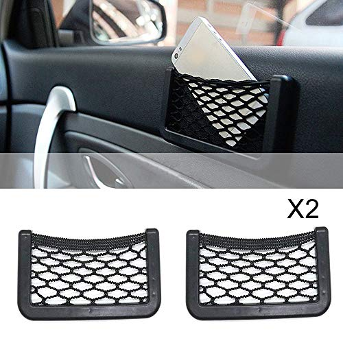 Car Storage Net,Universal Car Seat Side Back Bag, GPS Phone Holder Pocket Organizer for Jeep Opel Toyota Ford Focus Fiesta Mondeo Buick Volvo Renault RV Accessories with Super Solid Double-Sided Adhes