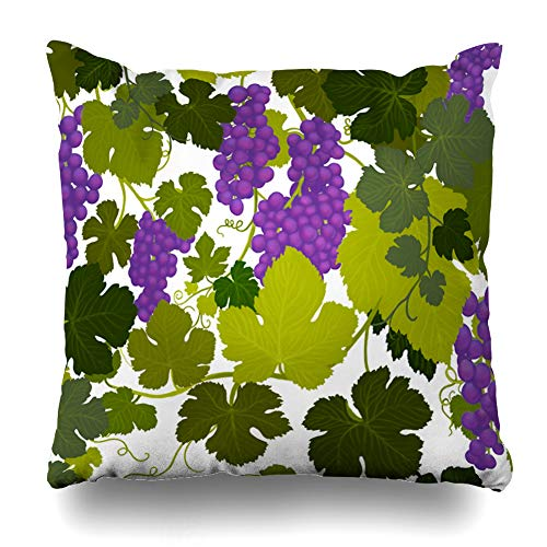 - DIYCow Throw Pillow Cover Pillowcase Valley Green Arbor Grape Vines Wine Country Airbrush Painting Alcohol Purple Bottle Cabernet Home Decor Design Square Size 20