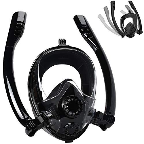 Cevapro Snorkel Mask Full Face, Safe K2 Breathing System Full Face Snorkeling Mask for Natural Breath & Safe Snorkeling Anti Leak Anti Fog Diving Mask Dry Snorkel Set for Kids Adult]()
