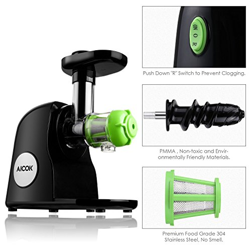 Aicok Slow Masticating Juicer Extractor, Cold Press Juicer, Quiet Motor, with Juice Jug and ...