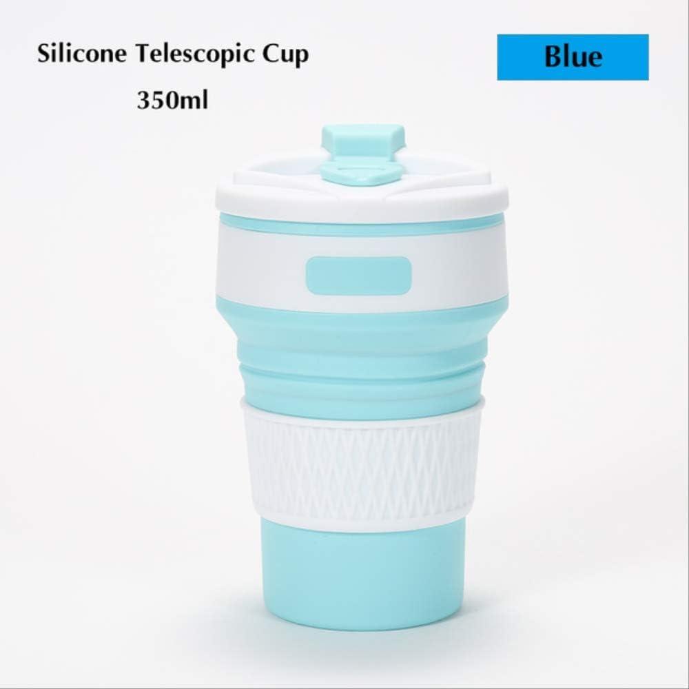 HMJ Vaso de Metal 350 ml Vaso telescópico de Silicona con Agujero telescópico Vaso Plegable Azul