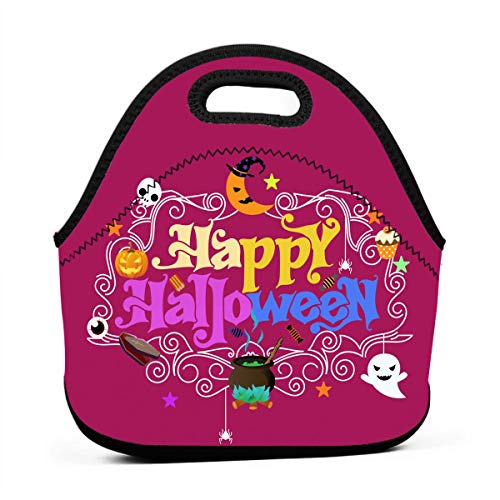 Generic Happy Day Of The Dead Halloween Vintage Insulated Lunch Bag Large Cooler Tote Bags Lunch Organizer Holder Box For Adlut Men Women, Black -