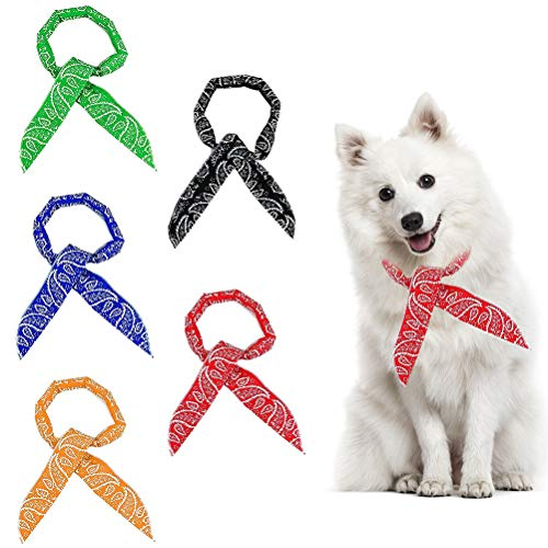 SCENEREAL Dog Cooling Bandanas - 5 Pack Ice Cool Collar Neck Scarf Headband for Summer, Classic Colors Human and Pets