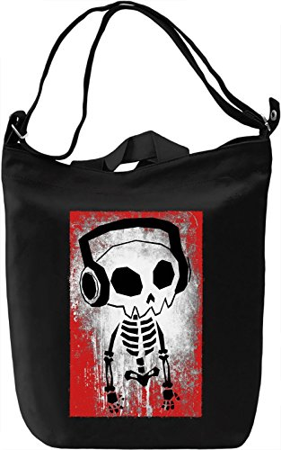 Skeleton With Headphones Borsa Giornaliera Canvas Canvas Day Bag| 100% Premium Cotton Canvas| DTG Printing|