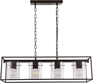 Vintage Pendant Lighting for Kitchen Island Farmhouse Chandeliers Industrial Glass 4 Light Fixture Oil Rubbed Bronze Dinning Room