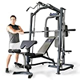 Marcy Home Gym Smith Machine with Multi Press Weight Bench – Black, One Size