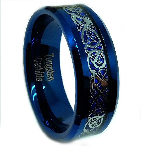 8mm Tungsten Carbide Blue IP Plated with Celtic Knot Dragon over Blue Carbon Fiber Inlay Wedding Band Ring For Men Or Ladies