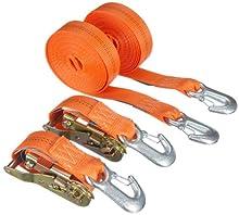 Braun 1000-2-600+3030/VE2 - Pulpo con Hebilla y mosquetón para baca (2000 Dan, 2 Piezas, 6 m, 35 mm de Ancho), Color Naranja