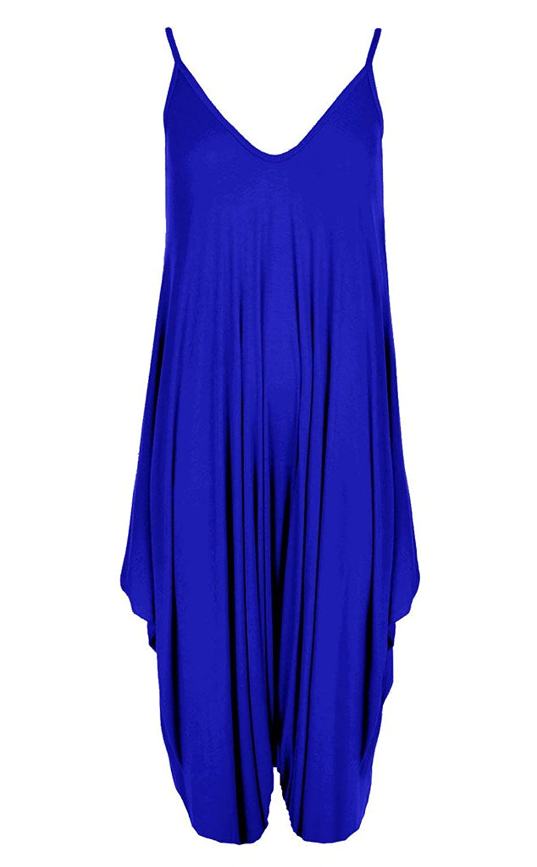 Women鈥檚 Cami Jumpsuit Lagenlook Romper Baggy Harem Playsuit Dress ROYAL BLUE XL