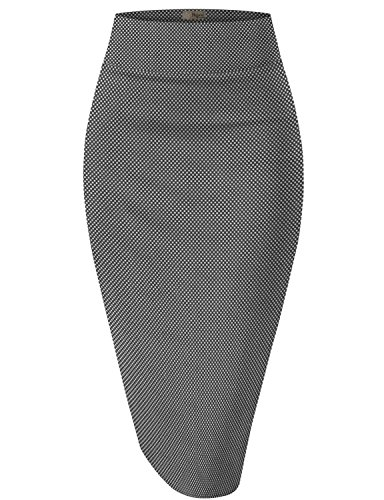 HyBrid & Company Womens Pencil Skirt For Office Wear KSK43584 X 10763 Black/Whit 3X (Print Leopard Pencil Skirt)