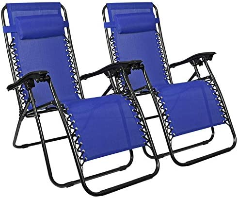 Zero Gravity Chairs Recliner Lounge Patio Chairs Set of 2 Blue