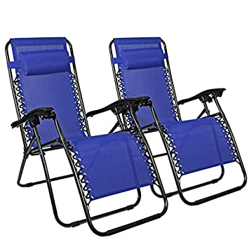 Flex HQ Zero Gravity Chairs Recliner Lounge Patio Chairs Set of 2 Blue