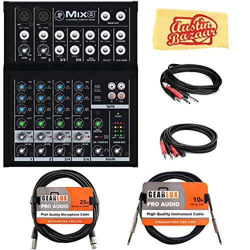 - Mackie Mix8 8-Channel Compact Mixer Bundle with XLR Cable, Instrument Cable, Stereo Breakout Cable, Dual 1/4
