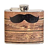 Hipster Wood Mustache 5 oz. Stainless Steel Flask