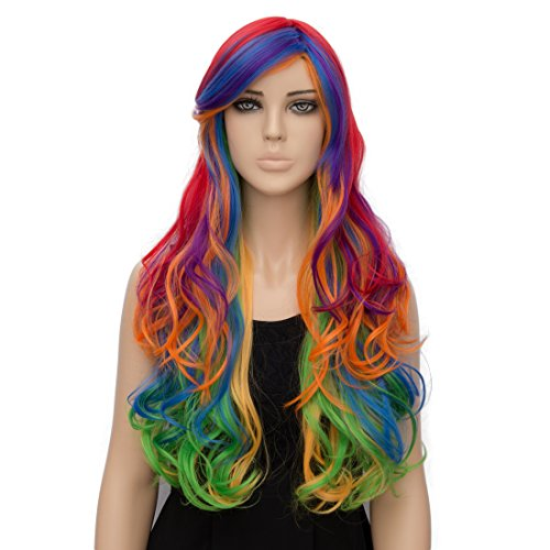 Netgo Colorful Rainbow Costume Wig Long Wavy Lolita Wig for Cosplay Halloween (Cheap Colorful Costumes Wigs)