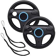 GamesBunds Mario Kart Steering Wheels,2pcs Black Racing Wheel with Wii Wheel, Wii Mario Kart Game Remote controller Accessories Driving Wheel for Mario Kart , Tank, more Wii or Wii U racing games