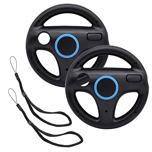 AZFUNN Mario Kart Steering Wheels,2pcs Black Racing Wheel with Wii Wheel, Wii Mario Kart Game Remote Controller Accessories Driving Wheel for Mario Kart, Tank, More Wii U or Wii Games
