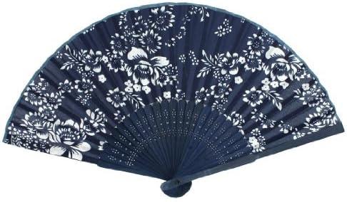 Tissu Bambou Cadre Danse Pliable /Éventail Blanc Bleu Marine